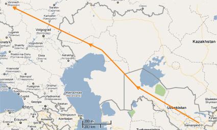 Karims route across Russia