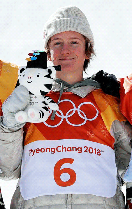 Red Gerard the slopestyle Gold medallist, holds his own Soohorang doll