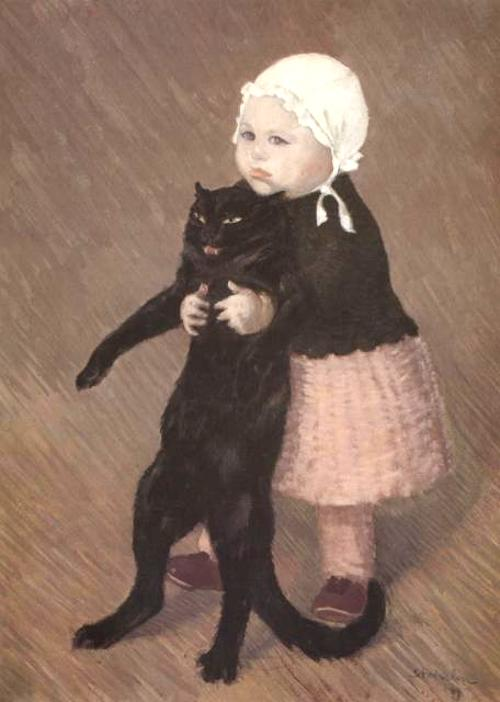 Little Girl With Cat. 1889